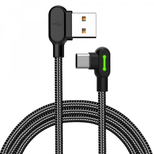 MCDODO NYLON TOUGH RIGHT ANGLE TYPE-C TO RIGHT ANGLE USB LEAD -1.8M