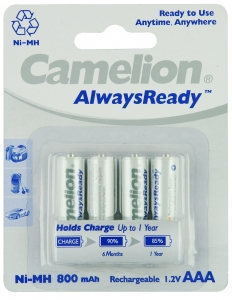 CAMELION ALWAYS-READY AAA NI-MH BATTERIES-PK4