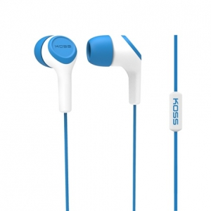 KOSS IN-EAR HEADPHONES W/ MIC AND NOISE CANCELLING - BLUE