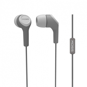 KOSS IN-EAR HEADPHONES W/ MIC AND NOISE CANCELLING - GREY