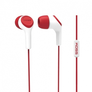 KOSS IN-EAR HEADPHONES W/ MIC AND NOISE CANCELLING - RED