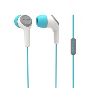 KOSS IN-EAR HEADPHONES W/ MIC AND NOISE CANCELLING - TEAL