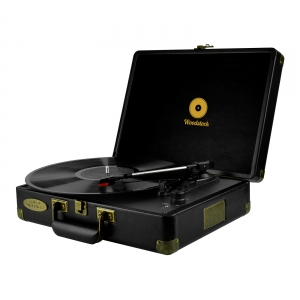 MBEAT WOODSTOCK RETRO SUITCASE STYLE TURNTABLE - BLACK