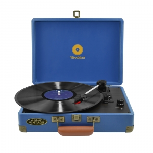 MBEAT WOODSTOCK RETRO SUITCASE STYLE TURNTABLE - BLUE