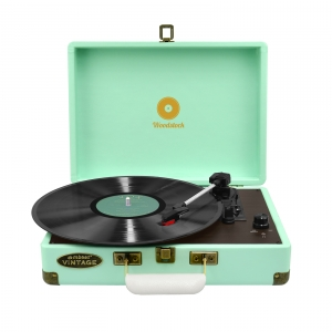 MBEAT WOODSTOCK RETRO SUITCASE STYLE TURNTABLE - TIFFANY BLUE