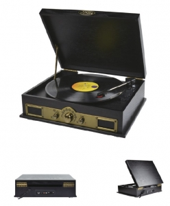 MBEAT RETRO VINTAGE WOODEN STYLE TURNTABLE WITH BUILT IN BLUETOOTH SPEAKER