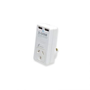 SANSAI DUAL USB MAINS CHARGER WITH SURGE PROTECTED OUTLET - 2.1 AMP