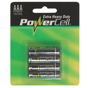 POWERCELL AAA EXTRA HEAVY DUTY BATTERIES - PK4