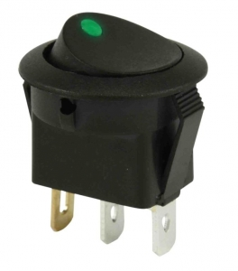 DNA 12V ON/OFF ROCKER SWITCH ROUND MOUNT - GREEN LIGHT