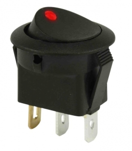 DNA 12V ON/OFF ROCKER SWITCH ROUND MOUNT - RED LIGHT