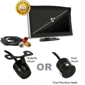 5 INCH REARVIEW LCD MONITOR WITH BUTTERFLY/ FLUSH MOUNT CAMERA