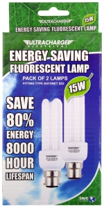 ULTRACHARGE 15W BC FLUORESCENT LAMPS - PK2
