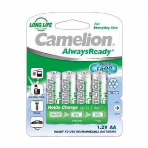 CAMELION ALWAYS READY NI-MH RECHARGEABLE BATTERIES AA - 4PK