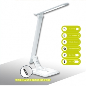SANSAI 8W AC LED DESK LAMP WITH 2.1 AMP USB CHARGING SOCKET