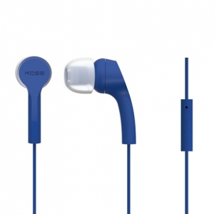 KOSS NOISE ISOLATING IN-EAR EARPHONES WITH MICROPHONE - BLUE