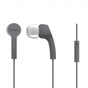 KOSS NOISE ISOLATING IN-EAR EARPHONES WITH MICROPHONE - GREY