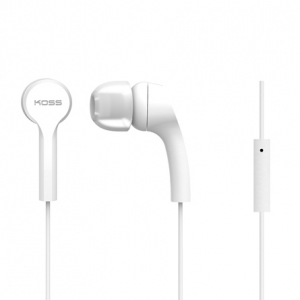 KOSS NOISE ISOLATING IN-EAR EARPHONES WITH MICROPHONE - WHITE