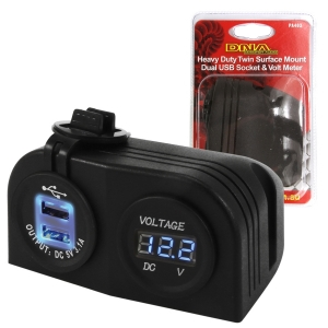 DNA TWIN SURFACE MOUNT USB/VOLT METER SCKTS