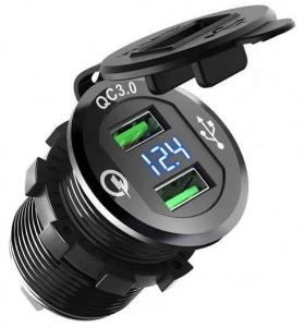 WESTEC UNIVERSAL ROUND MOUNT DUAL QC3.0 USB FAST CHARGE WITH VOLTMETER