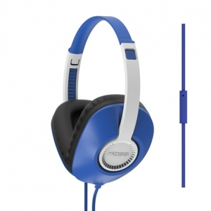 KOSS FULL SIZE D SHAPE HEADPHONES WITH MICROPHONE AND FLAT CORD - BLUE