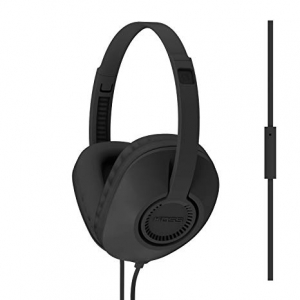 KOSS FULL SIZE D SHAPE HEADPHONES WITH MICROPHONE AND FLAT CORD - BLACK