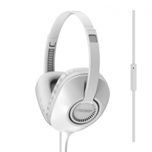 KOSS FULL SIZE D SHAPE HEADPHONES WITH MICROPHONE AND FLAT CORD - WHITE